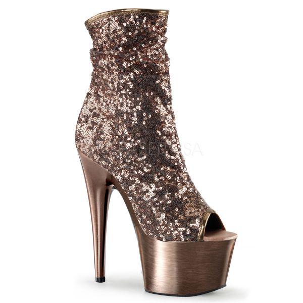 Open Toe Stiefelette mit bronzefarbenen Pailletten und bronzefarben verchromtem Plateau ADORE-1008SQ